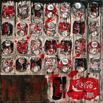 JUST COKE : collage abstrait, canettes, format carré moyen