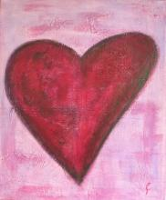 Tableau Coeur violet : Artiste peintre Sophie Costa