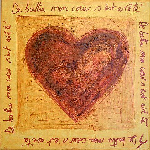 Tableau Contemporain, un Coeur qui bat. Sophie Costa, artiste peintre.