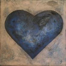Tableau Coeur bleu : Artiste peintre Sophie Costa