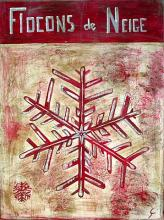 Tableau Flocons de neige rouges : Artiste peintre Sophie Costa