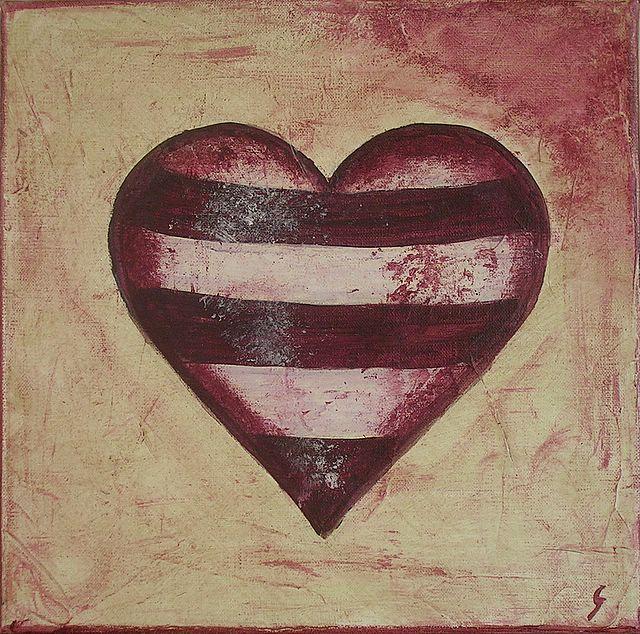 Tableau Contemporain, Coeur rayé. Sophie Costa, artiste peintre.