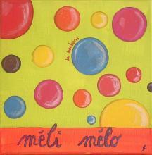 Tableau Méli mélo vert : Artiste peintre Sophie Costa