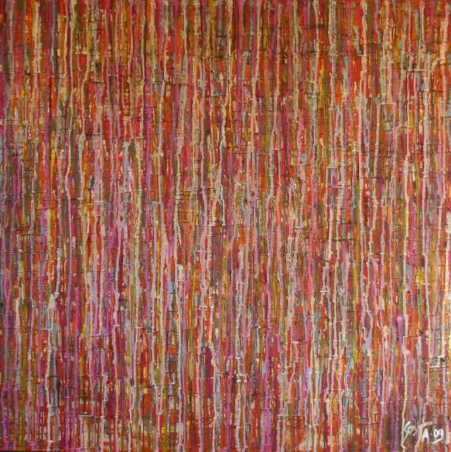 Tableau Contemporain, Streaming colours. Sophie Costa, artiste peintre.