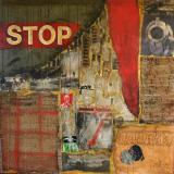 Tableau abstrait collage, Stop