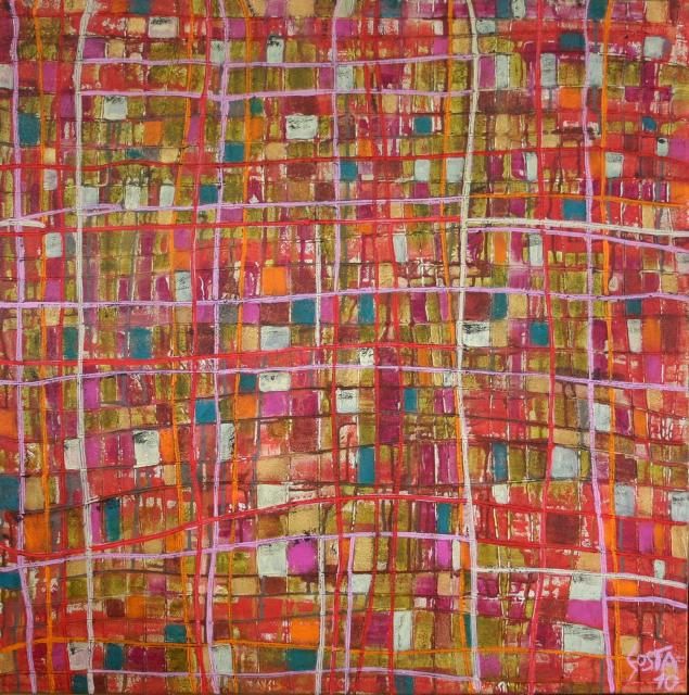 Tableau Contemporain, Colored squares. Sophie Costa, artiste peintre.