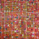 Tableau abstrait contemporain coloré, Colored Squares 3
