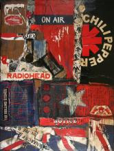 Tableau collage abstrait grand format, On Air