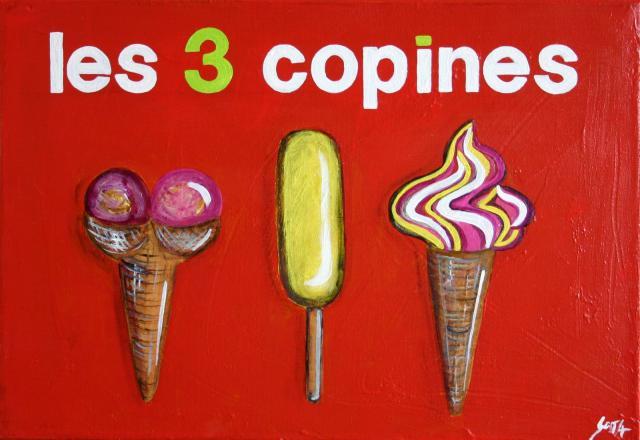 Tableau Contemporain, Les 3 copines (glaces). Sophie Costa, artiste peintre.