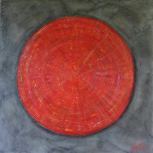Tableau Contemporain, Cible rouge. Sophie Costa, artiste peintre.