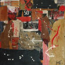 Tableau abstrait carré beige, noir et rouge,On Way