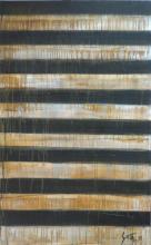 Tableau abstrait rayures noires