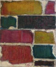 Tableau abstrait collage de cartons en couleur, Fauve