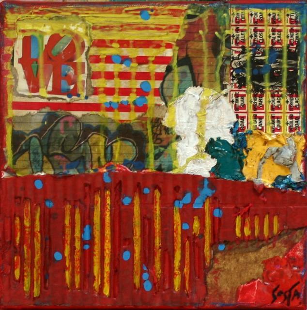 Rouge /carton Tableau Contemporain, Love . Sophie Costa, artiste peintre.