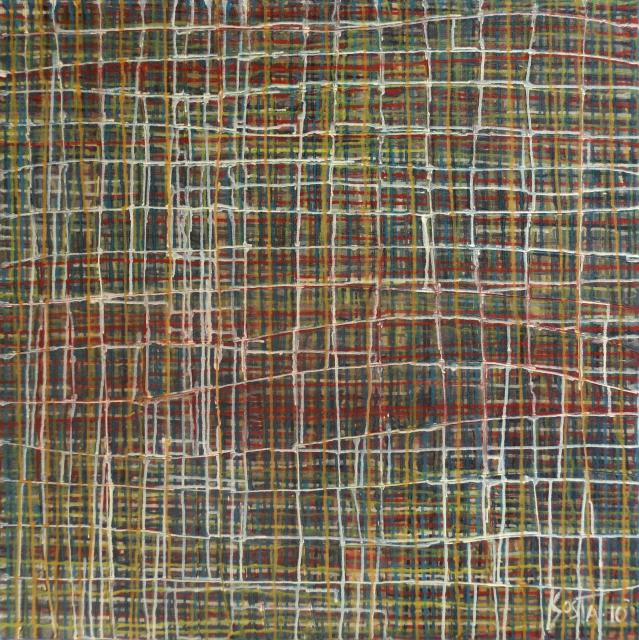 abstrait-coulures-quadrillage Tableau Contemporain, Network 1. Sophie Costa, artiste peintre.