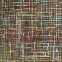 Tableau abstrait coulures, rouge bleu blanc, Network 1