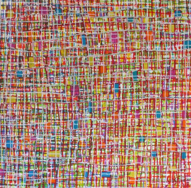 frais-coulure-quadrillage Tableau Contemporain, Network 2. Sophie Costa, artiste peintre.