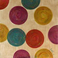 Tableau abstrait, disques colorés, Microsillons 04