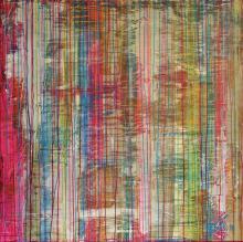 Tableau abstrait coulures coloré, Opposition