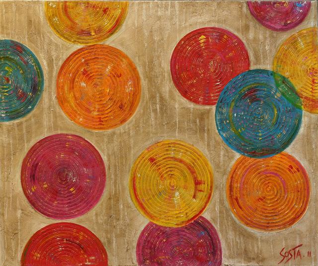 ronds/enduit/ multicolore Tableau Contemporain, Microsillons F. Sophie Costa, artiste peintre.