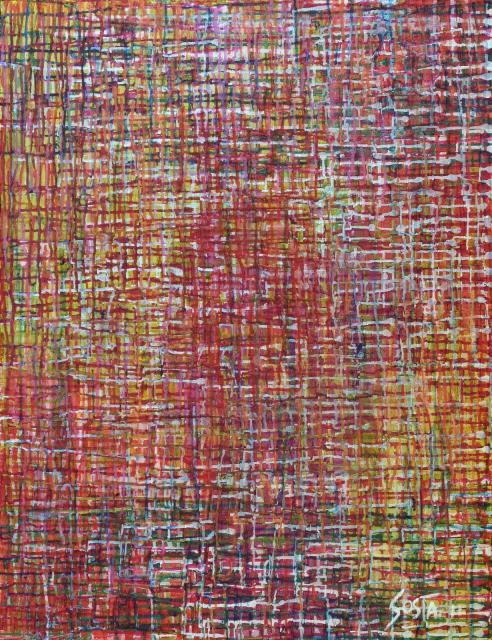 multicolore/coulures Tableau Contemporain, Secret Garden. Sophie Costa, artiste peintre.