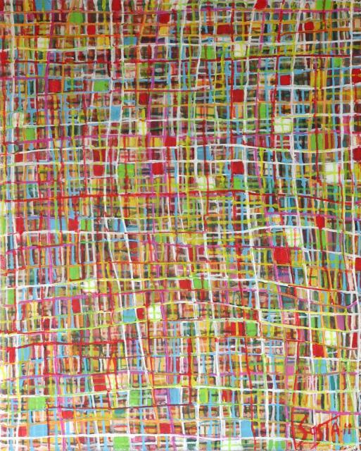 Enduit/carrés/multicolore Tableau Contemporain, FRESH 02. Sophie Costa, artiste peintre.