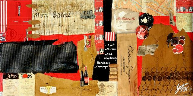 Collage/vin/bistrot Tableau Contemporain, Mon Bistrot. Sophie Costa, artiste peintre.