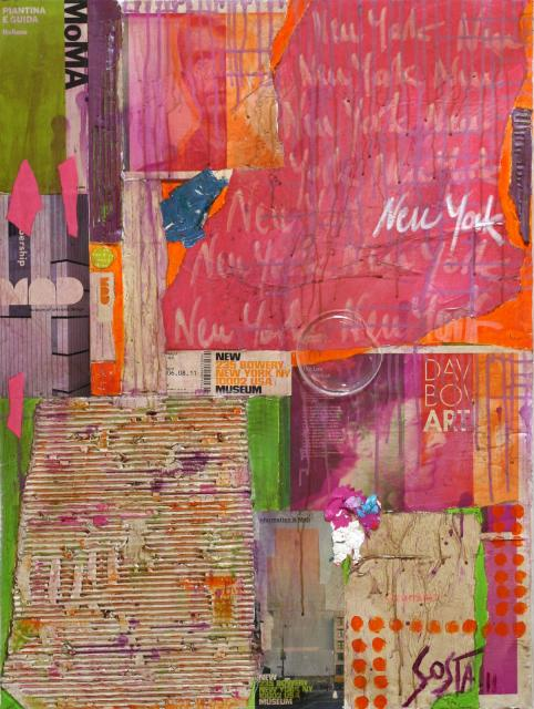 collage/vert/rose/orange/contemporain Tableau Contemporain, NY museum. Sophie Costa, artiste peintre.