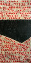 Tableau contemporain collage Fragile