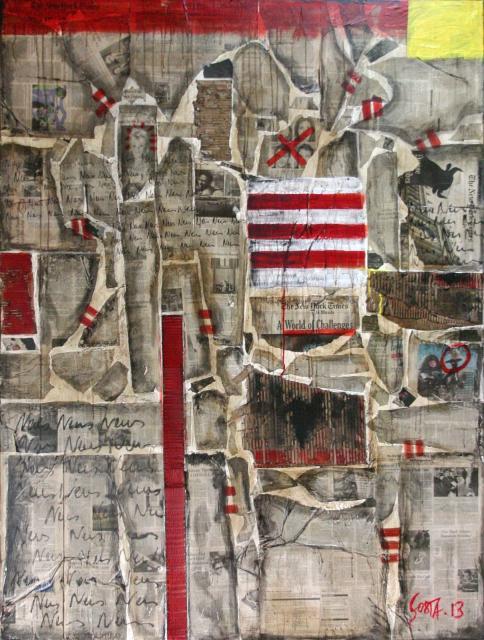 collage journaux, gris fumé, rouge , jaune Tableau Contemporain, NEWS. Sophie Costa, artiste peintre.