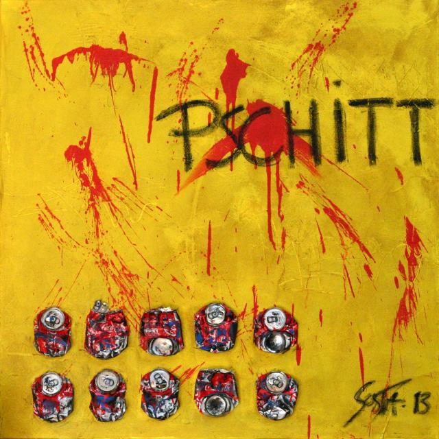 """enduit, coca, jaune Tableau Contemporain, """"PSCHITT"""". Sophie Costa, artiste peintre."""