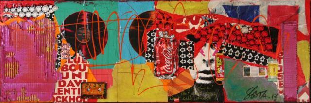 collage, multicolore, music Tableau Contemporain, PLAY !. Sophie Costa, artiste peintre.
