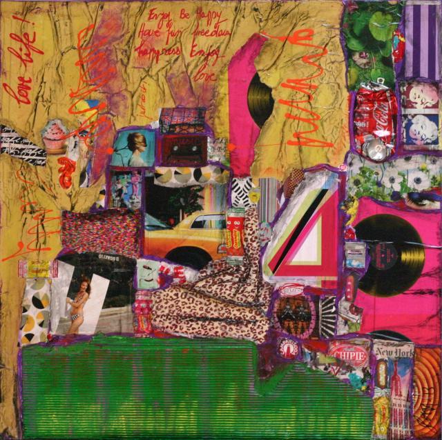 collage, multicolore Tableau Contemporain, LOVE LIFE !. Sophie Costa, artiste peintre.