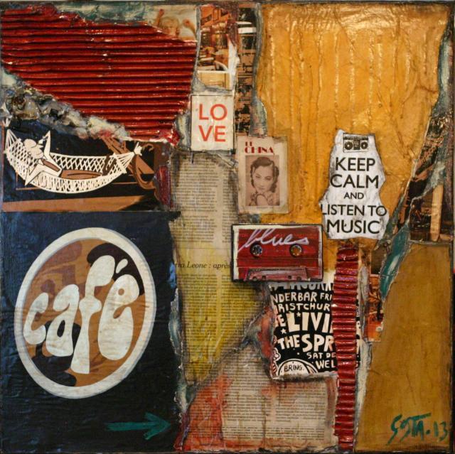 collane, carton, multicolore Tableau Contemporain, HAVE A BREAK. Sophie Costa, artiste peintre.