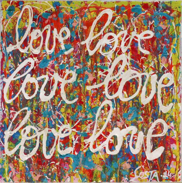 multicolore, love Tableau Contemporain, love, love #2. Sophie Costa, artiste peintre.