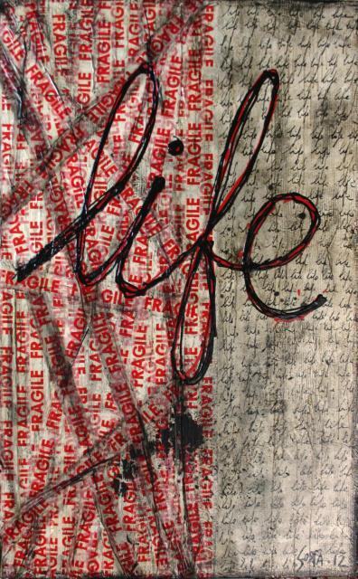 scotch fragile, récup, technique mixte Tableau Contemporain, FRAGILE life. Sophie Costa, artiste peintre.