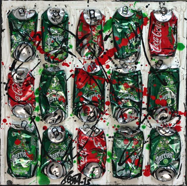 canettes compressées, collage Tableau Contemporain, CRAZY MIX. Sophie Costa, artiste peintre.