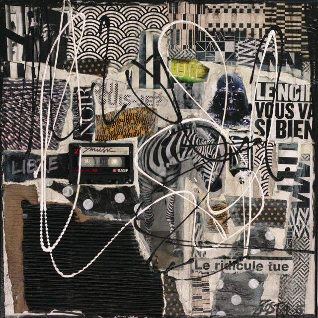 collage, blanc, noir Tableau Contemporain, Le noir vous va si bien .. Sophie Costa, artiste peintre.