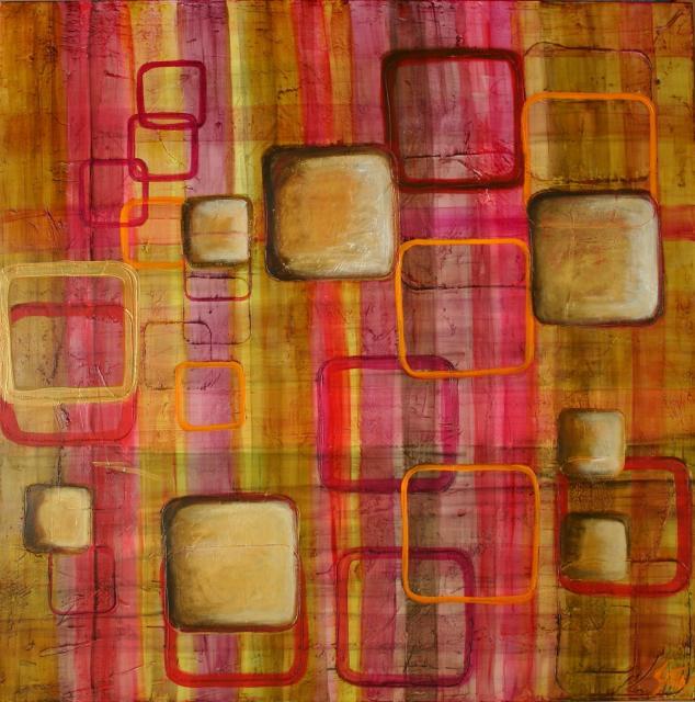 """Tableau Contemporain, """"70's"""". Sophie Costa, artiste peintre."""