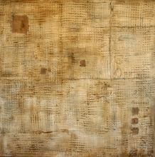 Tableau abstrait, enduit et fibres, Trame 3