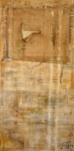 Beige, enduit, toile de jute Tableau Contemporain, Trame (4). Sophie Costa, artiste peintre.