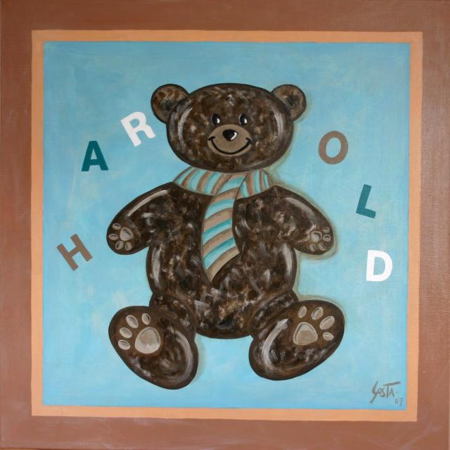 Tableau Contemporain, Harold l'ourson. Sophie Costa, artiste peintre.