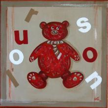 Tableau L'ourson rouge : Artiste peintre Sophie Costa