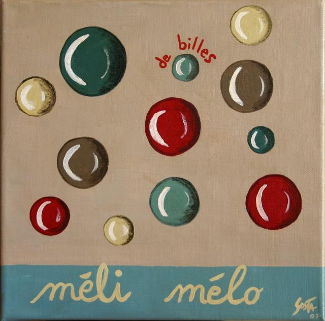 Tableau Contemporain, Méli mélo de billes. Sophie Costa, artiste peintre.