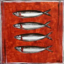 Tableau Les sardines : Artiste peintre Sophie Costa
