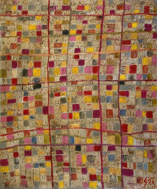 Tableau Contemporain, Squares (3). Sophie Costa, artiste peintre.
