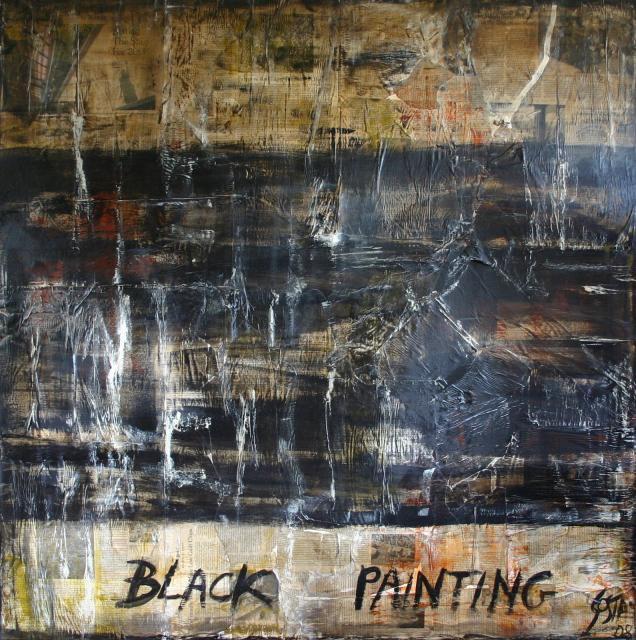 Tableau Contemporain, BLACK PAINTING 1. Sophie Costa, artiste peintre.