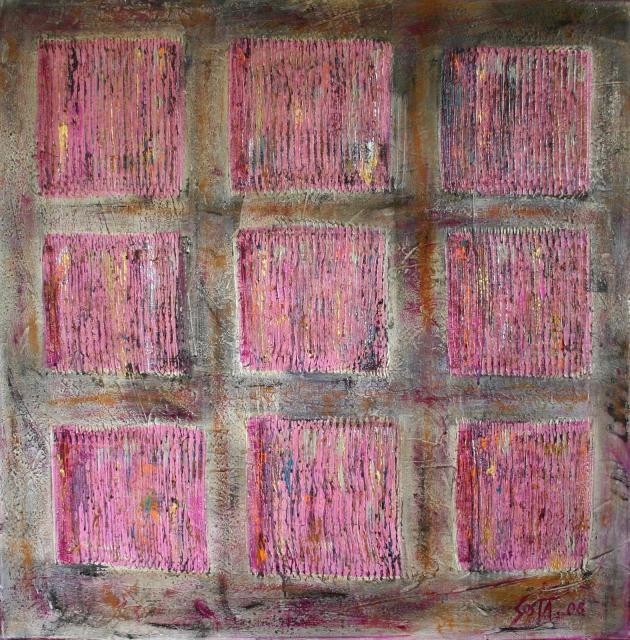 Tableau Contemporain, Colored squares 1. Sophie Costa, artiste peintre.