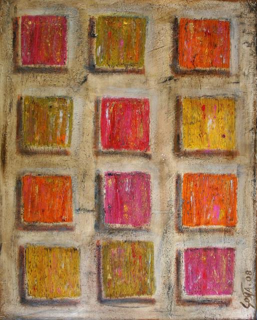 Tableau Contemporain, Colored squares 2. Sophie Costa, artiste peintre.