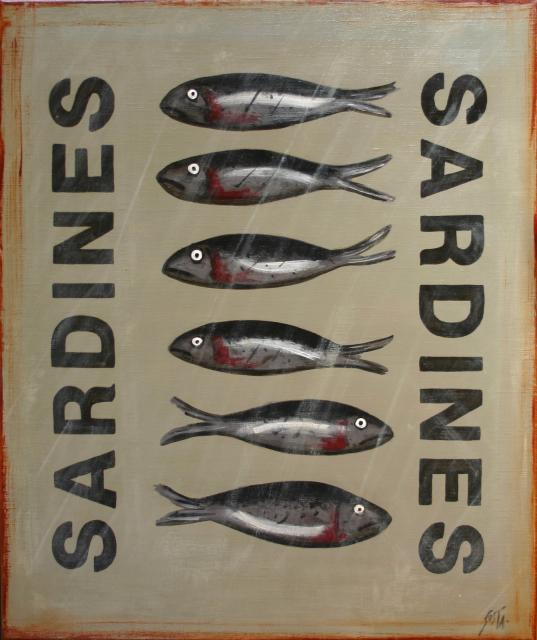 Tableau Contemporain, Six Sardines. Sophie Costa, artiste peintre.